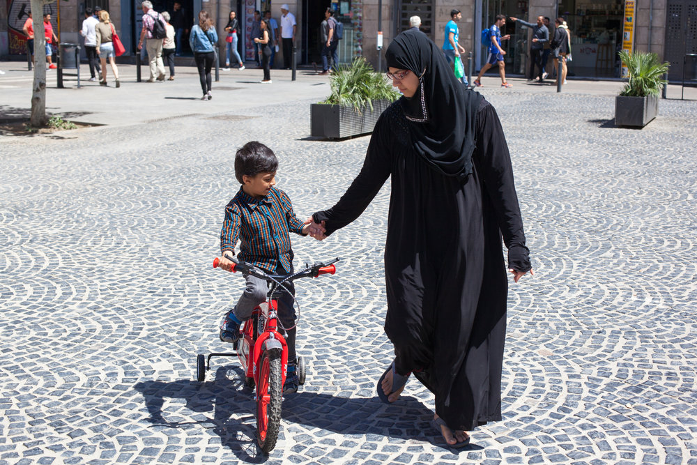 A Muslim family in the Raval area of Barcelona.