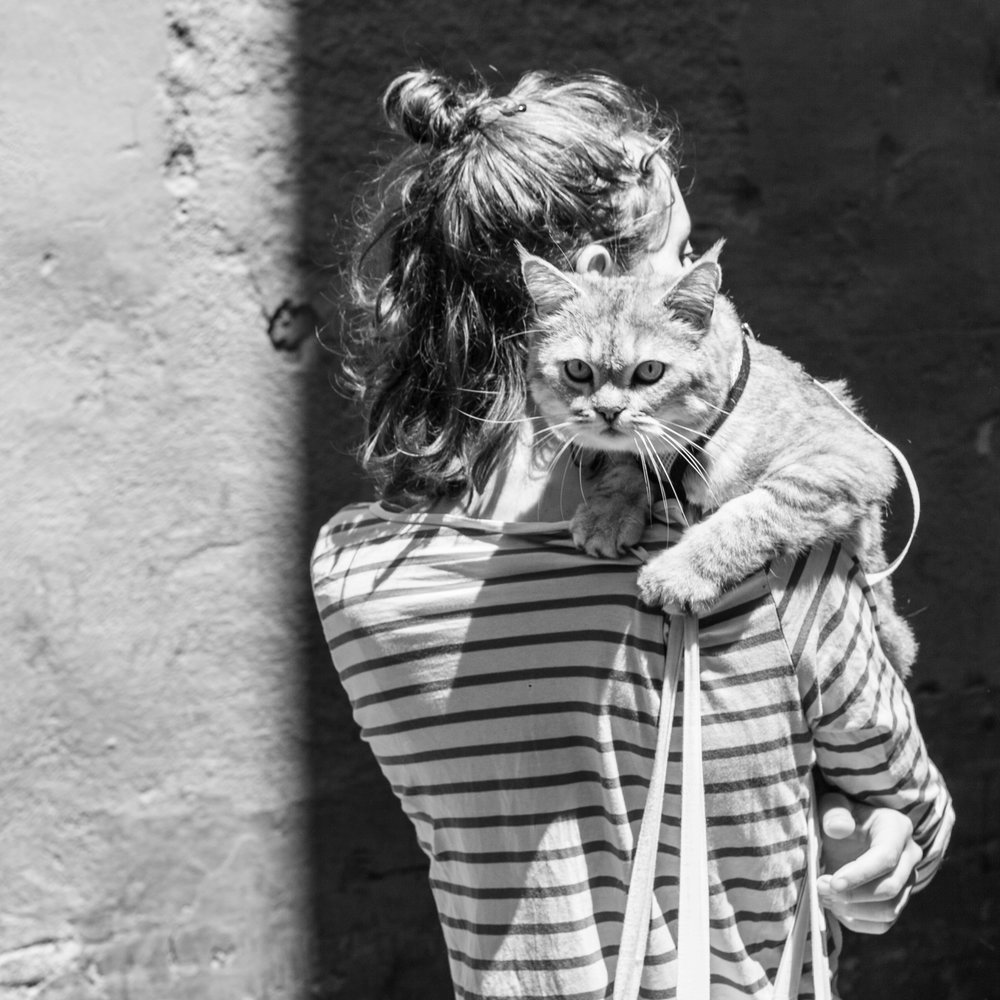 A woman and her huge cat pet in Barcelona.