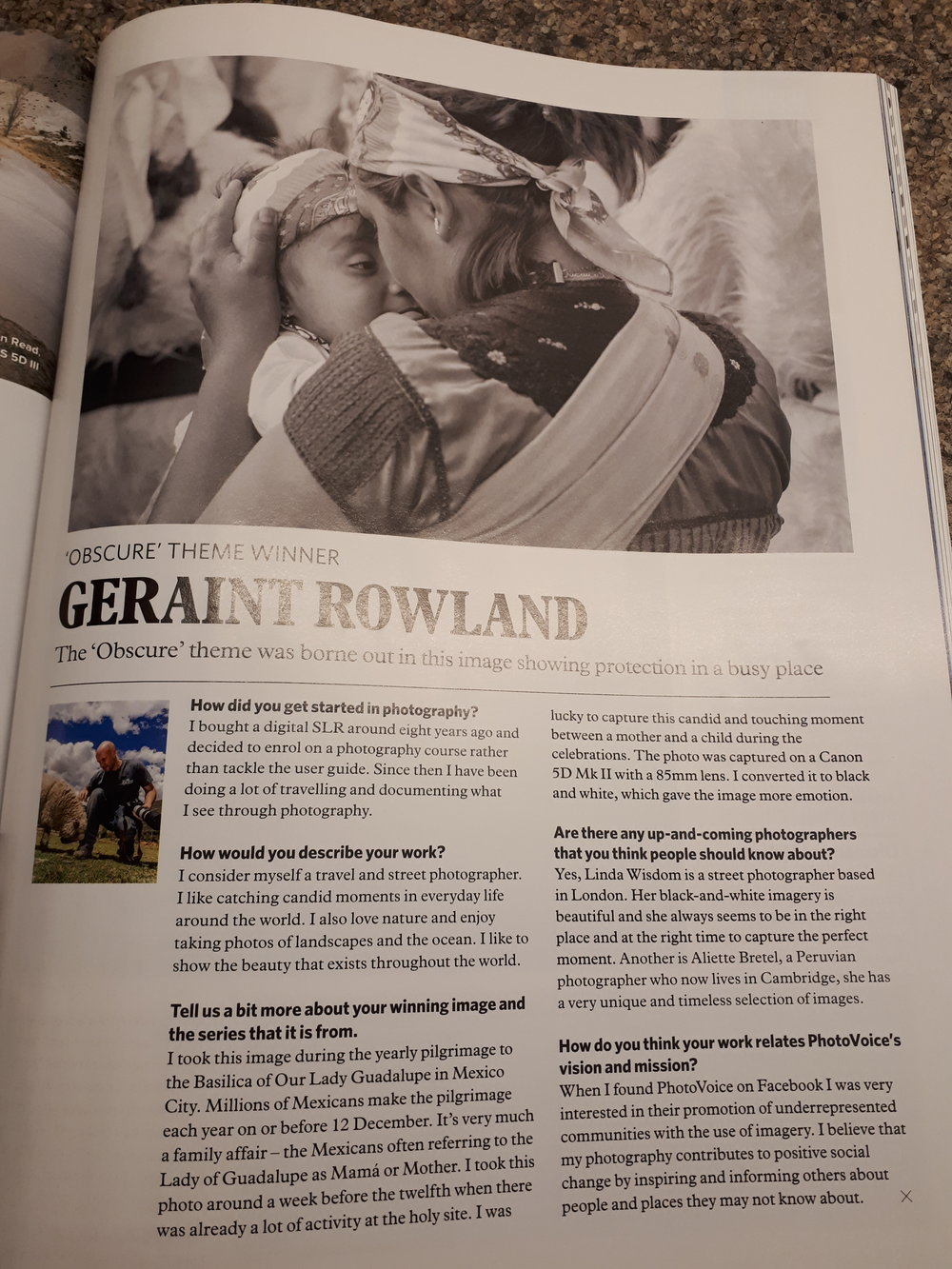 PhotoVoice competition winner Geraint Rowland's photograph published in Professional Photographer magazine.