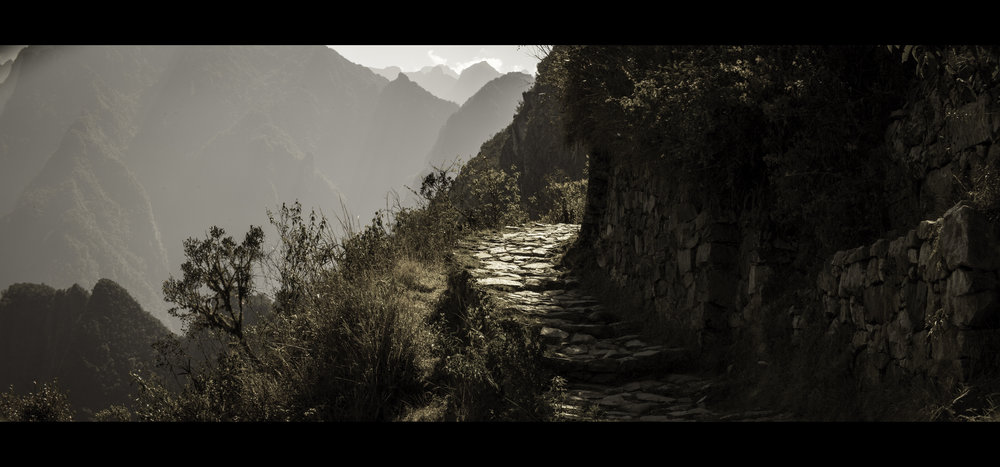 An anamorphic image of the Inca Trail leading to Peru in South America by Geraint Rowland.