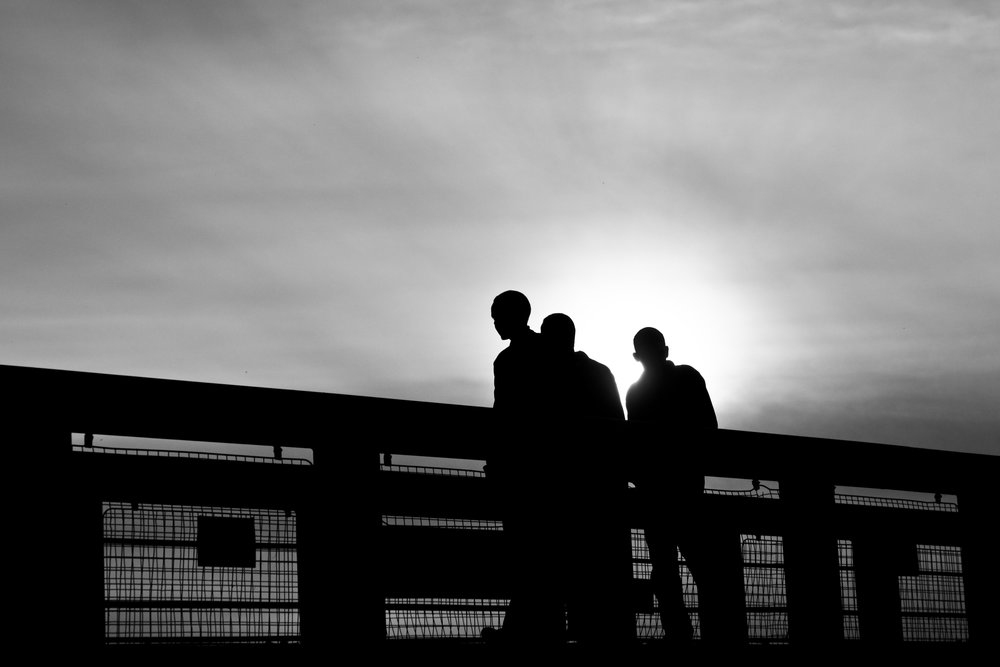 Silhouettes in Cardiff, Wales.