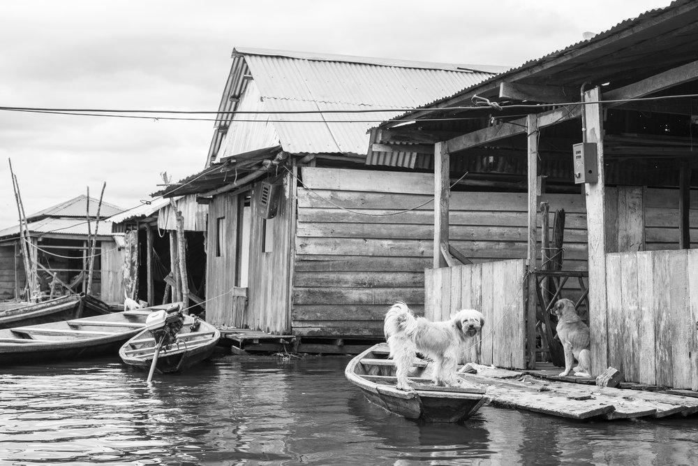 Black and white photography in Iquitos, Peru.