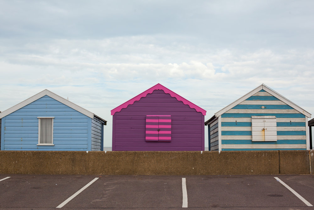 Beach huts in England.