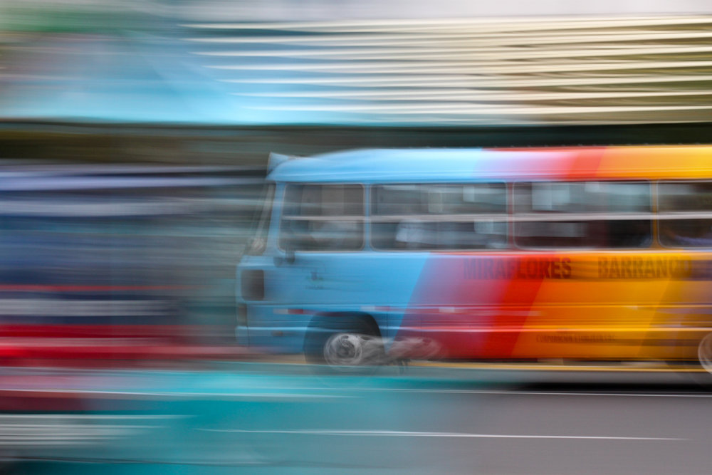 A slow shutter speed photograph of a Bus in Miraflores, Lima, Peru.
