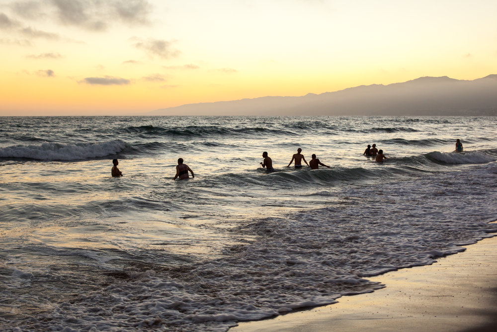 Swimming at sunset at Santa Monica Beach.