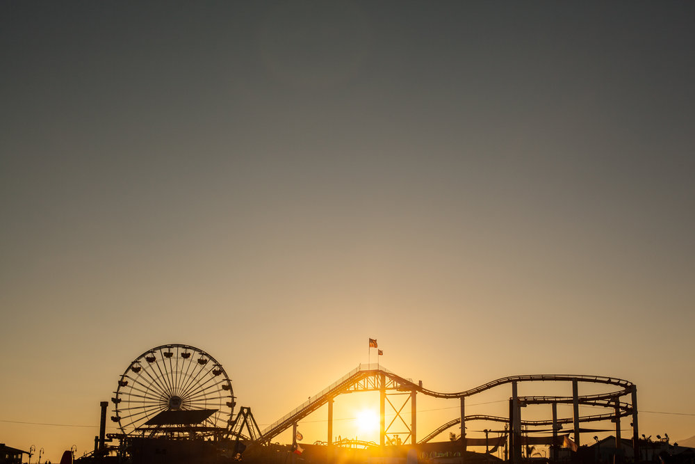 An artistic photo of the rollercoaster at Santa Monica Pier in California by Geraint Rowland.