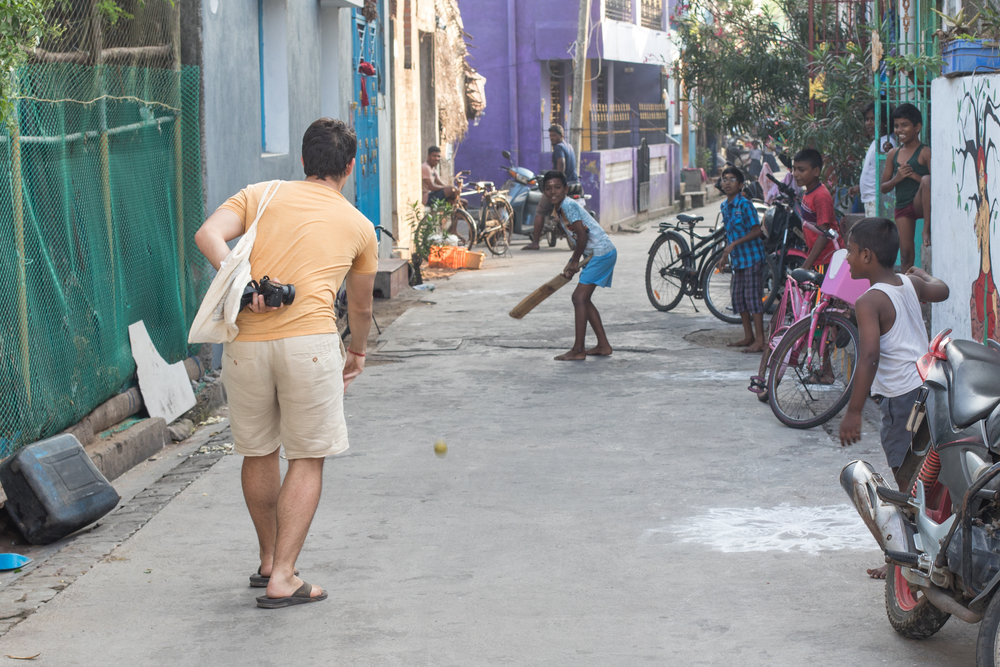 Playing Crocket with the locals in Puducherry.