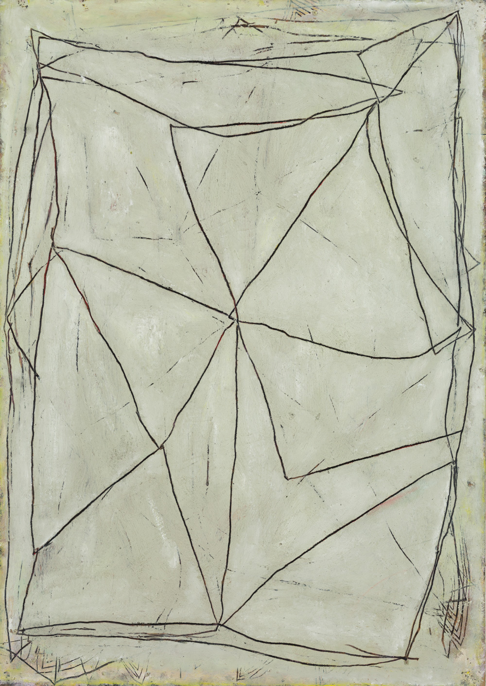 'Wire form I' 2019, Oil paint, graphite and wax pencil on card mounted on plywood