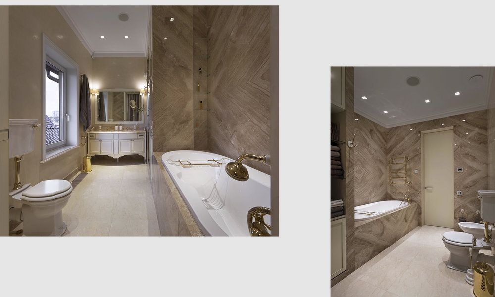 Marble walls and windowsill with minimalistic gold elements in the bathroom. Мраморные стены и подоконник со сдержанными золотыми элементами в ванной комнате.