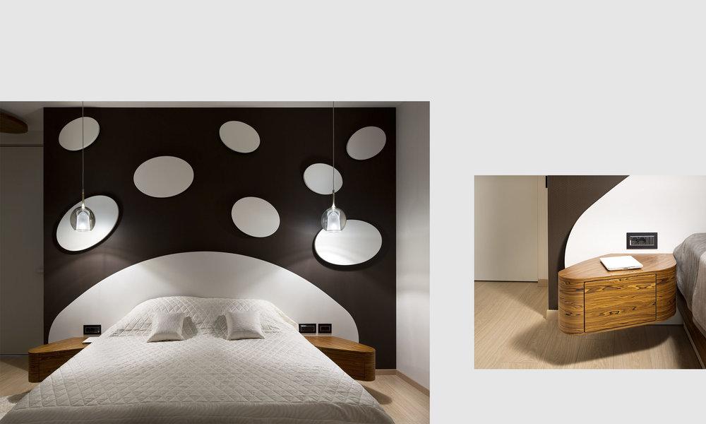 Черно-белый дизайн спальни. Декоративная настенная панель из гипсокартона. Black&white bedroom design interior. Circular decorative wall panels.