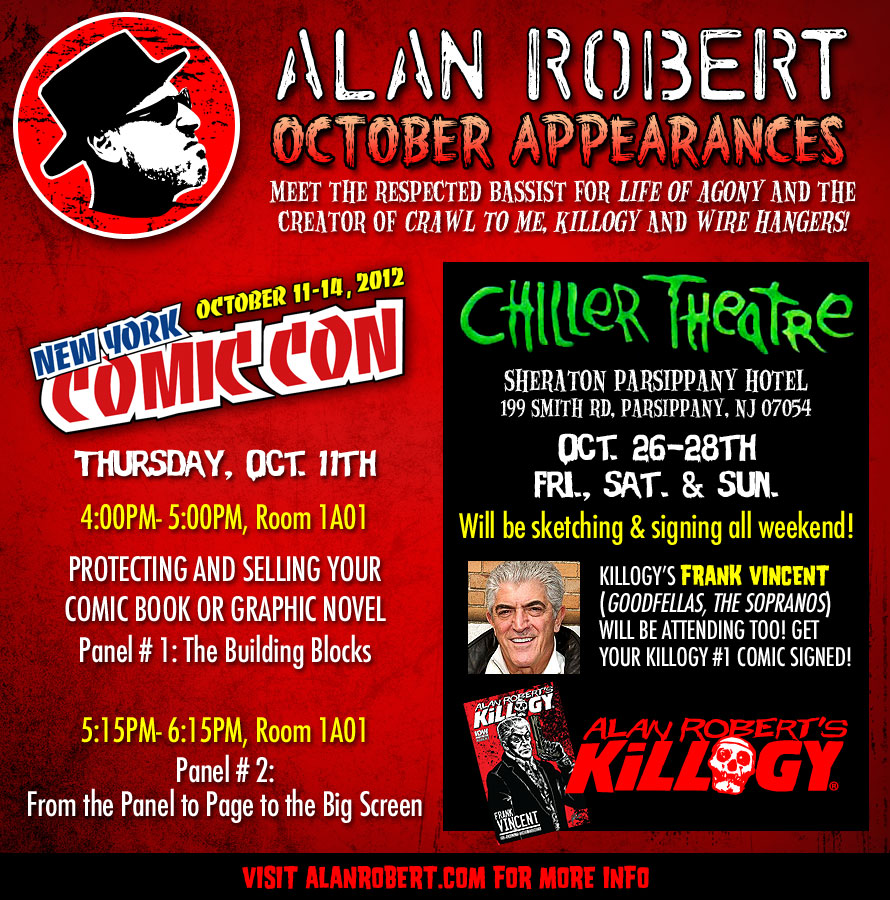 Alan Robert's October Appearances: Meet the Creator of Crawl to Me & Killogy!