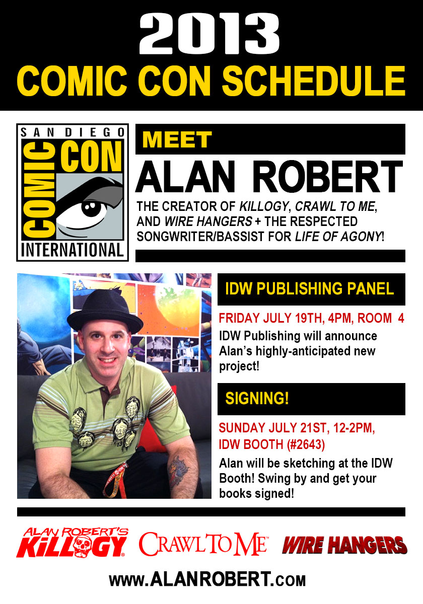 Alan Robert's San Diego Comic Con Schedule