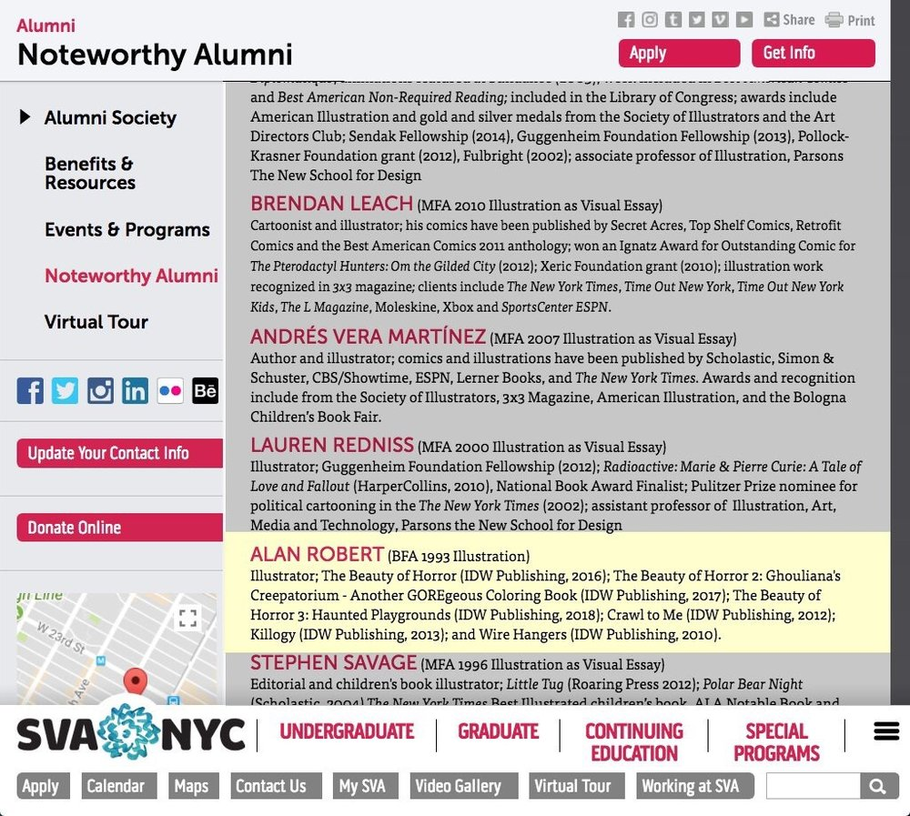 SVA Noteworthy Alumni Alan Robert, Illustration Very honored to be named as one of School of Visual Arts' Noteworthy Alumni Illustrators! http://www.sva.edu/alumni/noteworthy-alumni