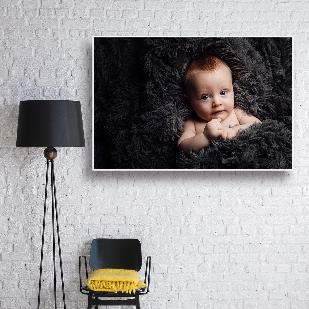 Box frame on white wall
