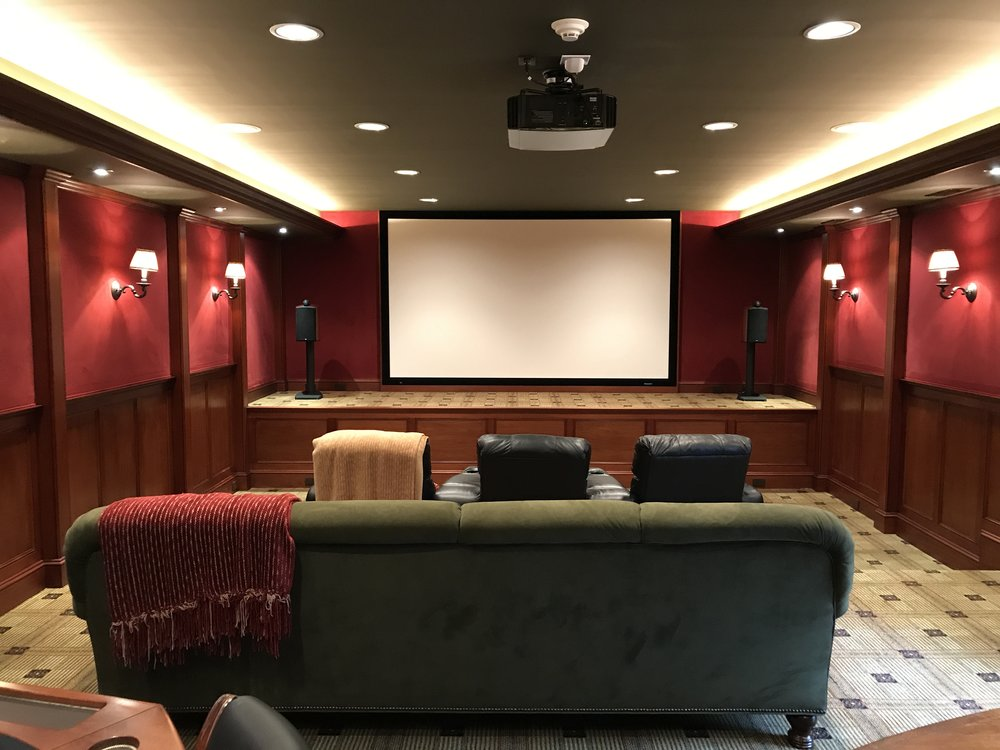 Home Theater Installation Nyack, NY - 1080p Overhead Projector - Smart Home tied into  lighting ,  music sound system, and climate control all from one app on an iPad.