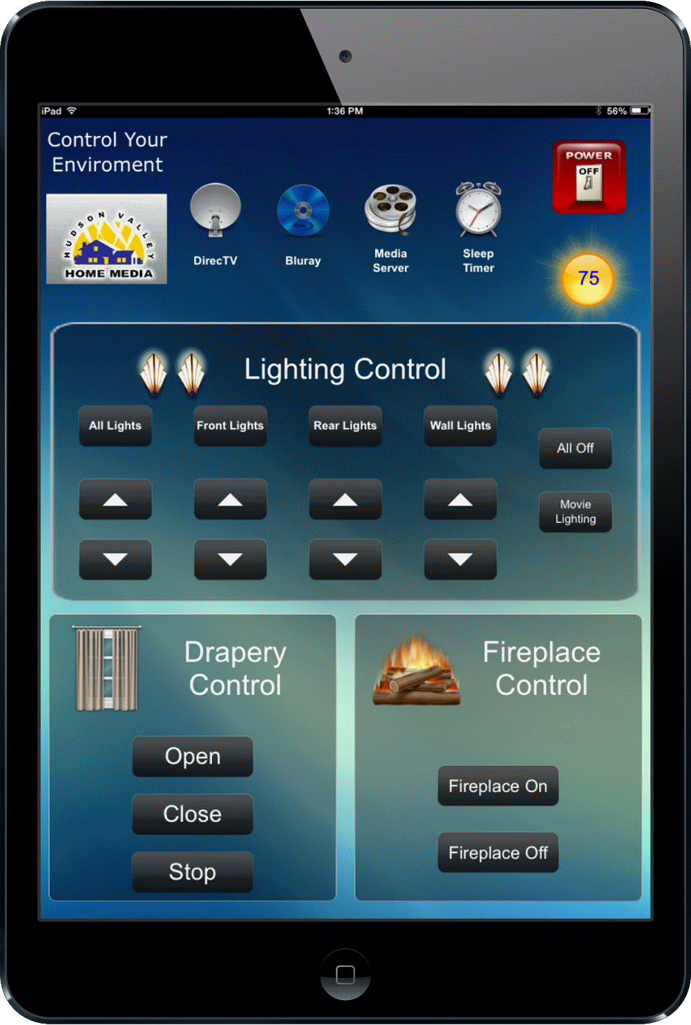 Ipad Mini Remote - Drapes - Fire Place - Outdoor and Indoor Lighting Unversal Remote - Hudsone Valley Home Media - Nyack, NY.png
