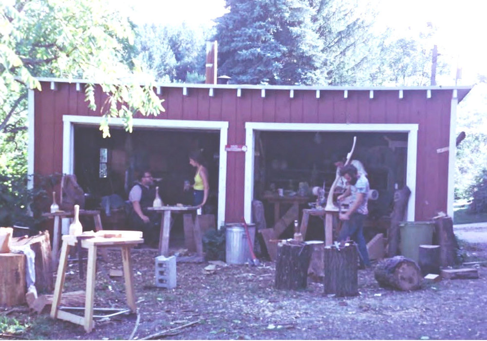 Emil ensconced in his barn workshop at Peters Valley in the 1970s.