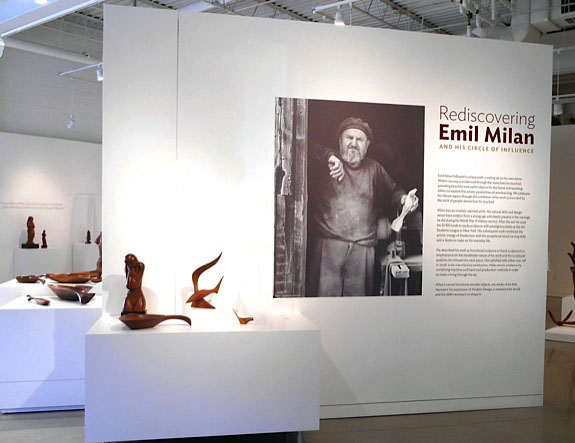 The title wall for the exhibition  Rediscovering Emil Milan and His Circle of Influence  at The Center for Art in Wood.