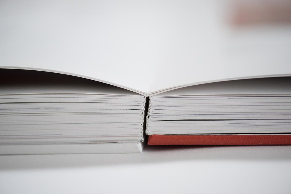 The soft fabric spine allows the book to lay virtually flat.