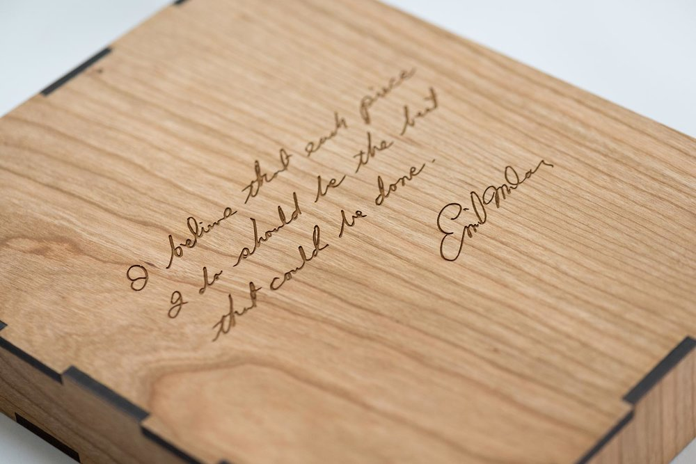 The back of the slip case is adorned with a laser etched Emil Milan quote.