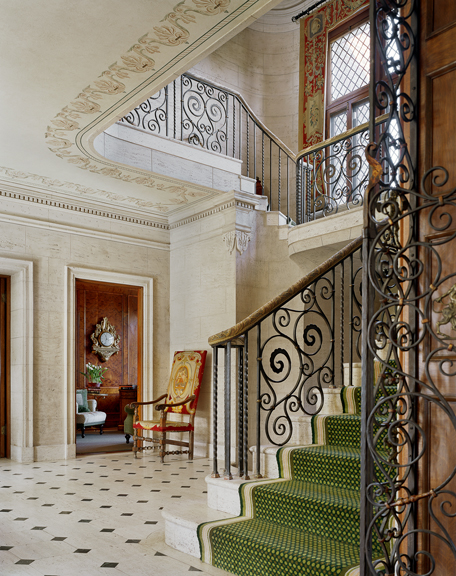 """I use stenciling to point out the good architecture rather than to embellish. It's more to feature it, and where the architecture is lacking, I do architectural stenciling,"" Watson says of the ceiling in the entryway."