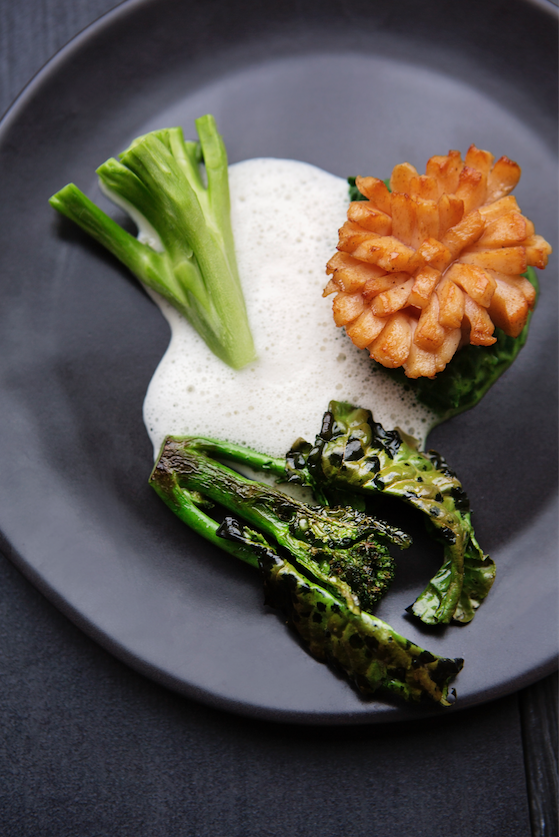 Maine Diver Scallop: all the parts of the broccoli, smoked butter broth