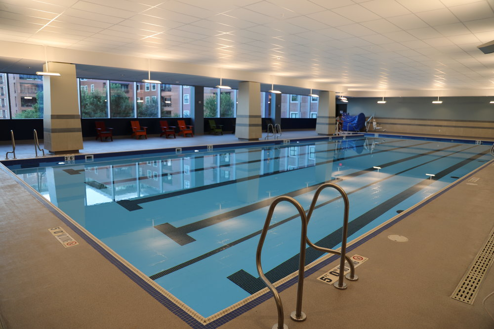 The 25 meter saline swimming pool is for lap swimmers and group classes including ones on stand-up paddle boards (SUP)