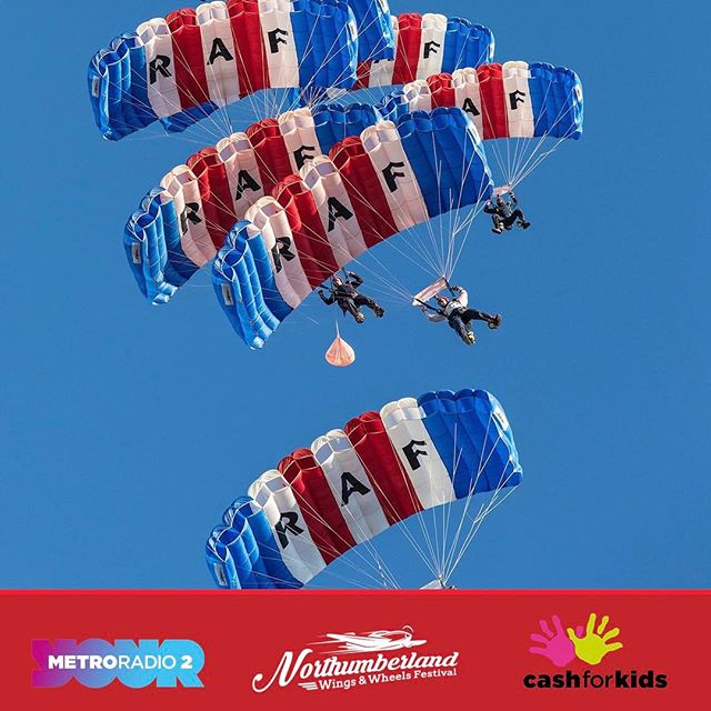 The RAF Falcon parachute display team will be performing their jaw dropping routine at the Festival on Friday 18th & Saturday 19th #nwwf #northumberland #festival #parachute #raf #falcondisplayteam