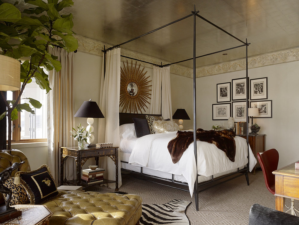 gold leaf ceiling bedroom leather tufted chaise