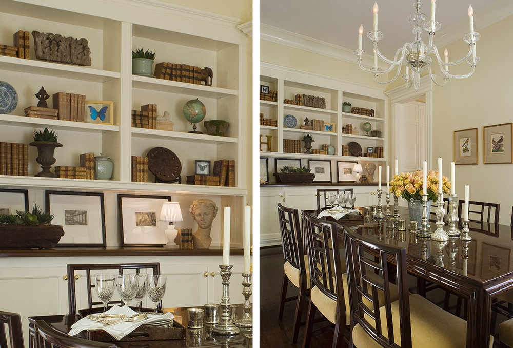victorian dining room with built in bookshelves