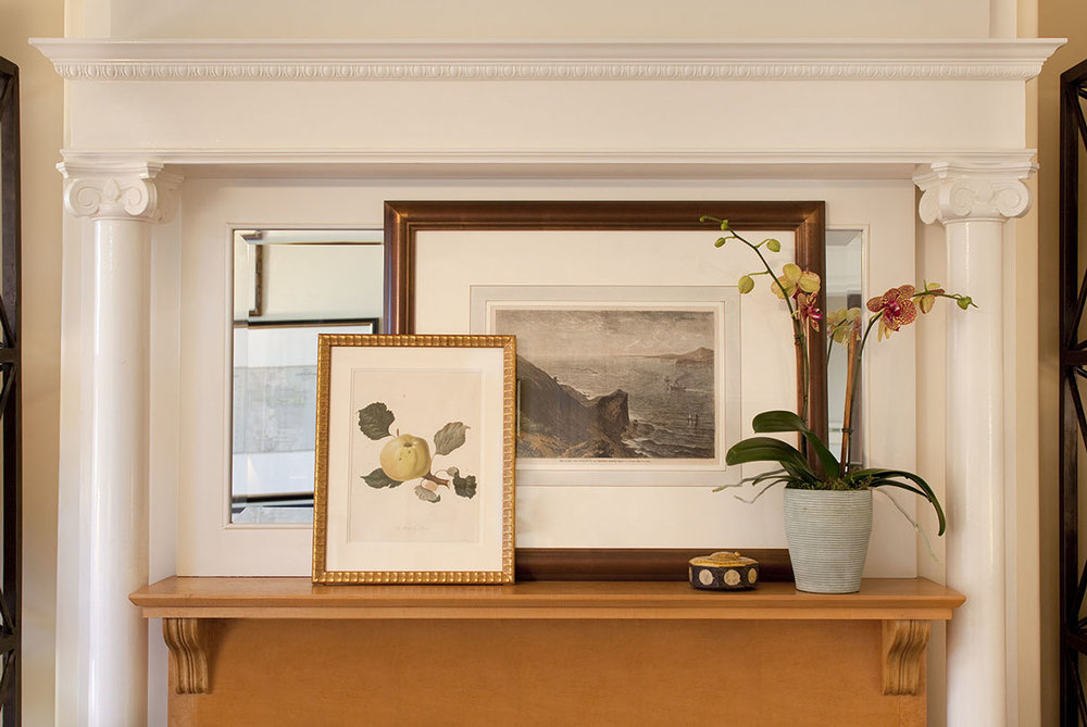 eclectic victorian living room mantle