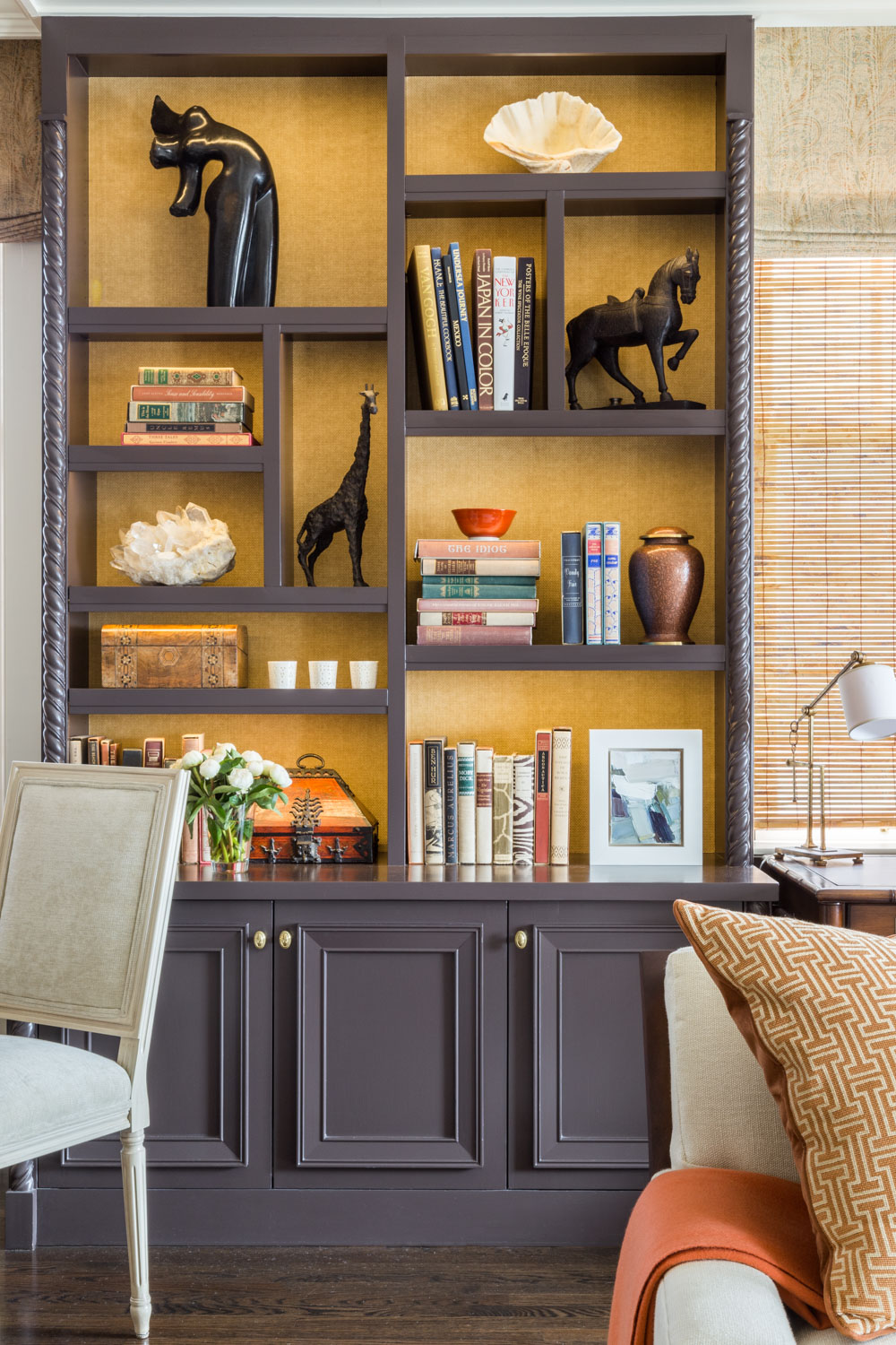bookshelf with global accessories
