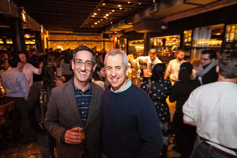 Mark Maynard-Parisi and Danny Meyer at a preview of Mr. Meyer's first cocktail bar, Porchlight. PHOTO: ANDREW KIST