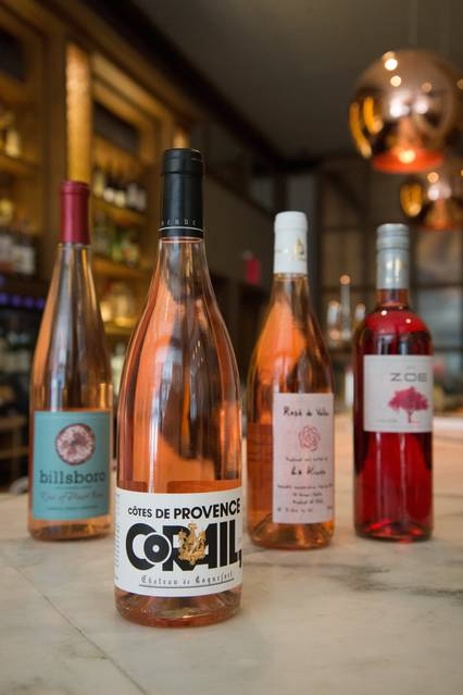 A selection of rosés at the Gander, which offers five $25 bottles of rosé from around the world from 2:30 p.m. to 7 p.m. every day. PHOTO:KATIE BURTON