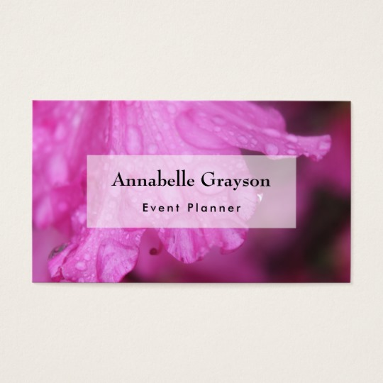 Original photo of bright pink azalea blossom with water droplets on it by Melody Watson. Seen here on the back of a business card you can edit and personalize in whatever way suits you. Including replacing the photo with one of your own!