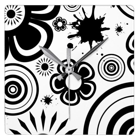 black_white_whimsical_flowers_circles_splatter_square_wall_clock.jpg