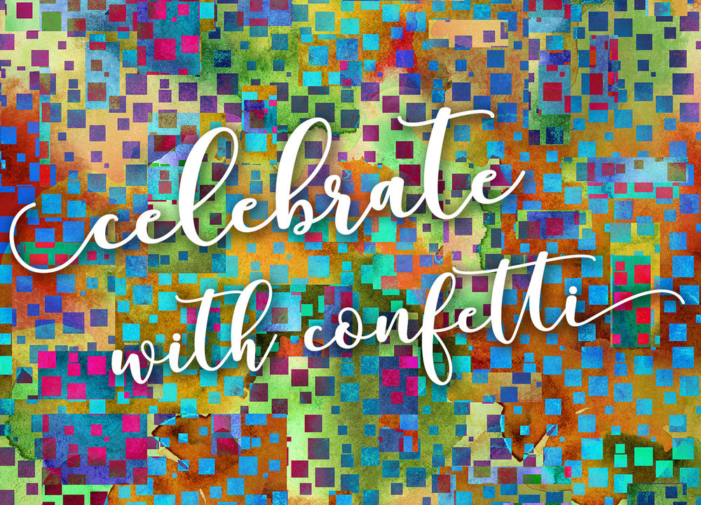 modern colorful graduation announcements with abstract confetti