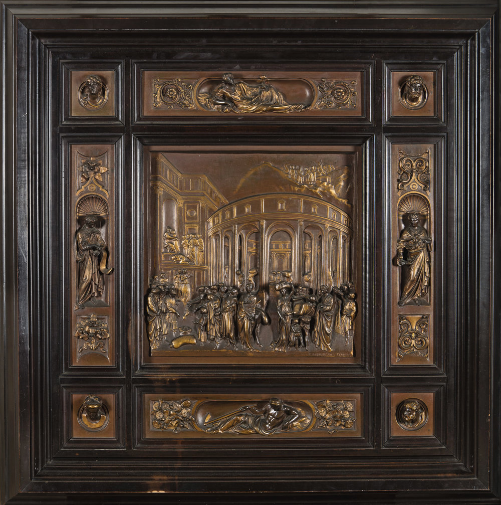 """FERDINAND BARBEDIENNE (French, 1810 - 1892) after  LORENZO GHIBERTI (Italian, 1378 - 1455)    The Story of Joseph  From the Second Baptistery Doors, Florence (""""The Gates of Paradise"""")   Signed at the lower right of the principal relief: F. BARBEDIENNE FONDEUR   Bronze relief set in a wooden frame 27 1/2 x 27 1/2 inches (70 x 70 cm.)"""