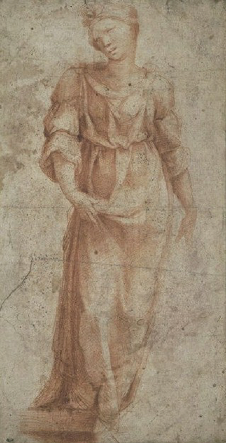 Beccafumi :  Study for a Figure in the Betrothal of the Virgin   (Paris, Louvre, n. 10788)