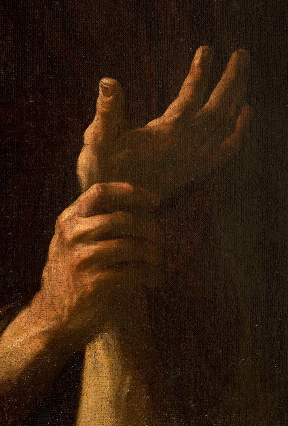 GIOVANNI BATTISTA BEINASCHI   (Fossano, near Turin 1636-1688 Naples)    The Martyrdom of Saint Peter    Oil on canvas  114½ x 76 inches  (290.8 x 193.1 cm)    detail of HAND