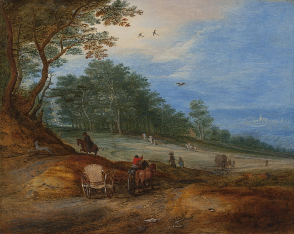 JAN BRUEGHEL THE YOUNGER  (Antwerp, 1601 – 1678)   A wooded landscape with horse-drawn carts, riders and peasants on a hillside path in the foreground   Oil on panel, 11 x 13 ½ inches (28 x 34.5 cm)  Signed, lower right center: BRVEGHEL