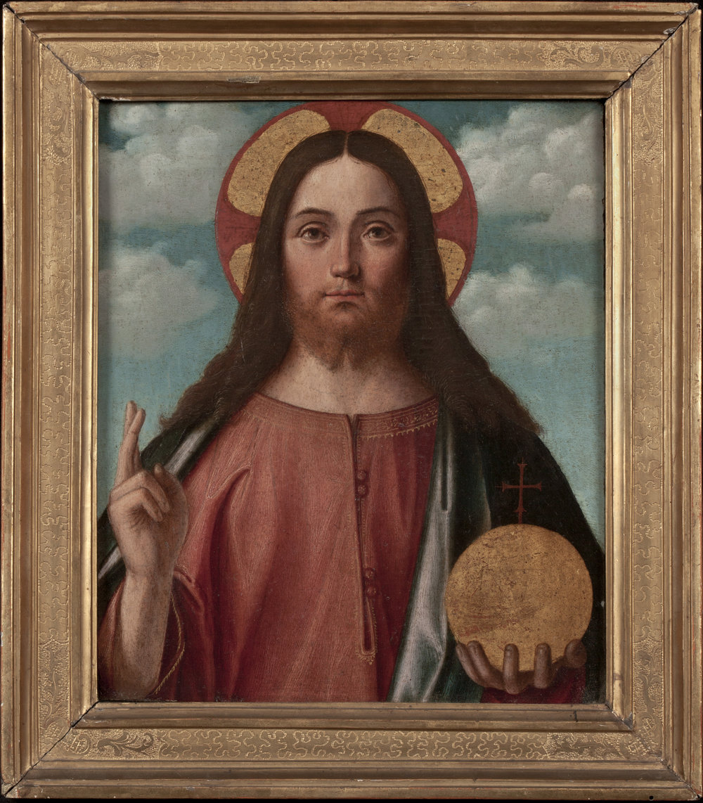 VITTORE CARPACCIO   (Venice, ca. 1465-70 – 1525/26)   Christ Blessing (Christ as Salvator Mundi)   Oil on panel  14 ¾ x 12 ½ inches (28.5 x 24 cm)