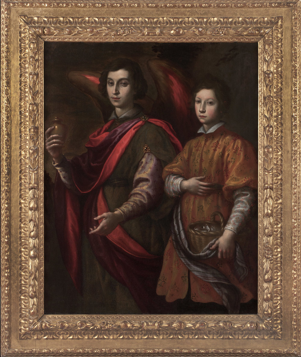 FRANCESCO CURRADI   (Florence, 1570-1661)   Tobias and the Angel   Oil on canvas  53 ¾ x 43 inches  (136.5 x 109.2 cm)