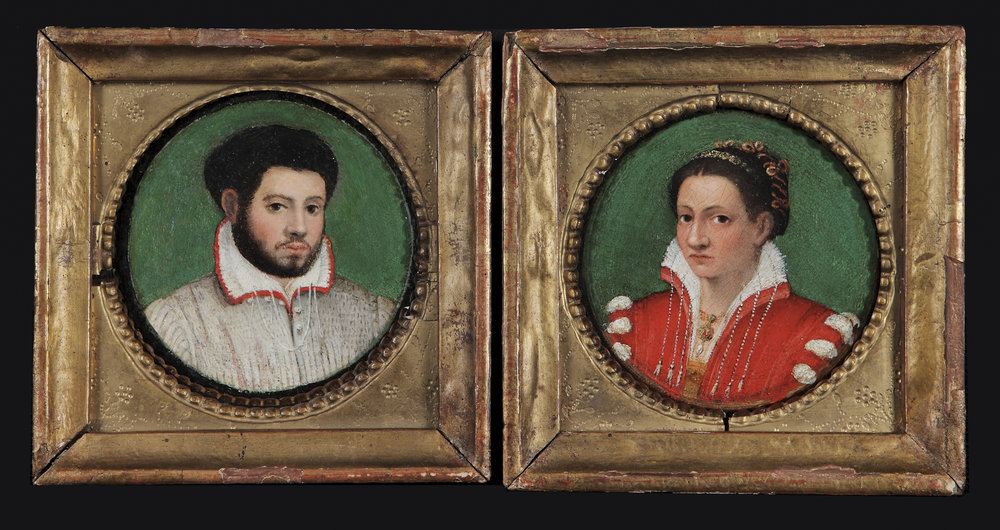 LAVINIA FONTANA   (Bologna 1552 – 1614 Rome)   Paired Portraits of a Married Couple   Oil on circular panels  4 7/8 in (12.4 cm) in diameter for the man  4 5/8 in (11.7 cm) in diameter for the woman