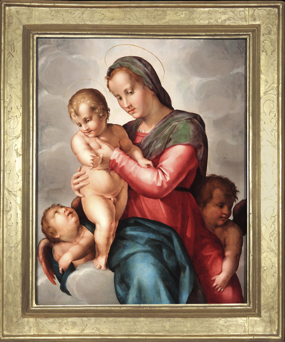PIER FRANCESCO DI JACOPO FOSCHI   (Florence, 1502-1567)   Madonna and Child with Two Angels     Oil on panel  37 ¼ x 29 3/8 inches  (94.5 x 74.5 cm)