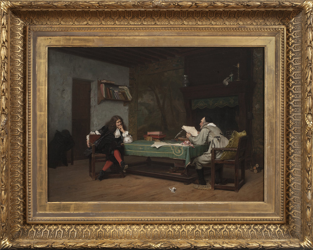 JEAN-LÉON GÉRÔME   (French, 1824-1904)   A Collaboration (Molière and Corneille)   Signed at center (on the tablecloth): J.L. Gerome  Oil on canvas, laid down on panel  19 x 26 1/2 inches (48 x 67 cm)