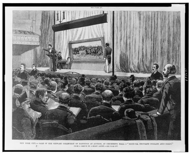 Illustration of the Stewart auction, 1887, from Frank Leslie's Illustrated Newspaper