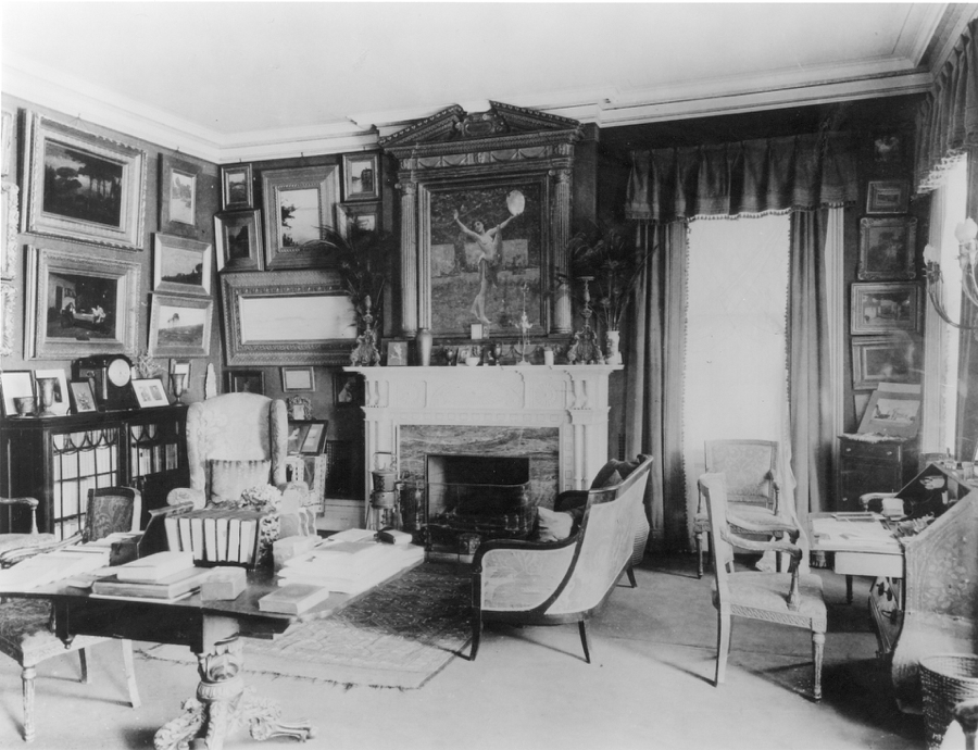 View of the Green Room in Stanford White's Gramercy Park home.   A Collaboration  hangs at left over the mantle-clock and glass-fronted bookcase.  Photograph taken shortly after White's murder in 1906. Courtesy The New York Historical Society (McKim Mead & White Archives)