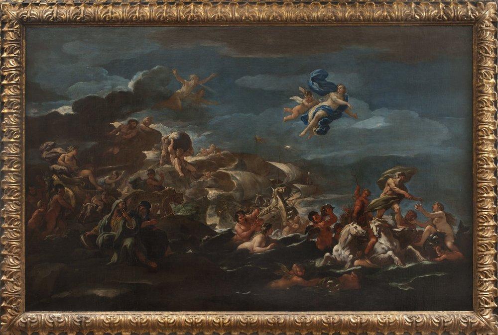 LUCA GIORDANO   (Naples, 1634-1705)   Allegory of Human Progress   (The Triumph of Bacchus and the Triumph of Neptune and Amphitrite)  Oil on canvas  47 3/4 x 74 3/4 inches (121.5 x 190 cm)