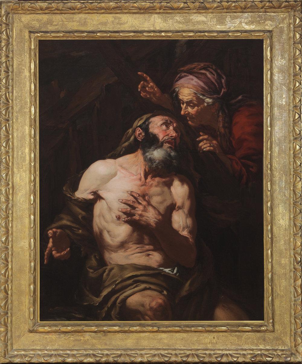 GIOVANNI BATTISTA LANGETTI   (Genoa 1635 – Venice 1676)   Job Cursed by His Wife   Oil on canvas   44 x 34 ½ inches (111.7 x 87.6 cm)